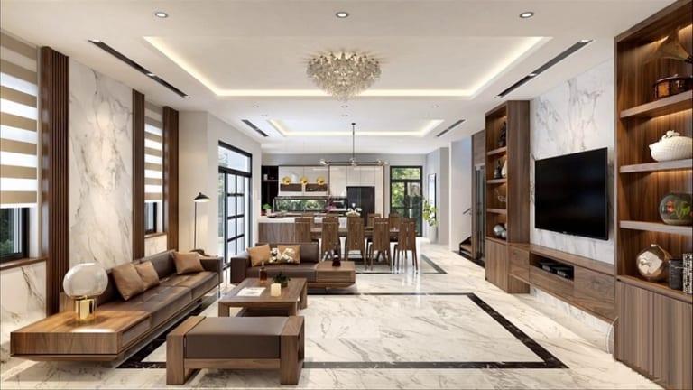 Không gian nội thất phòng khách hiện đại ấm áp