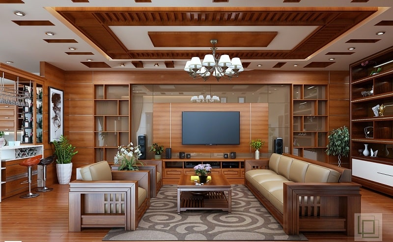 Nội thất gỗ trong phòng khách đẹp