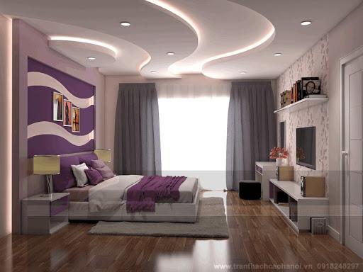 Thạch cao trong phòng ngủ Nhà Phố Sang Trọng