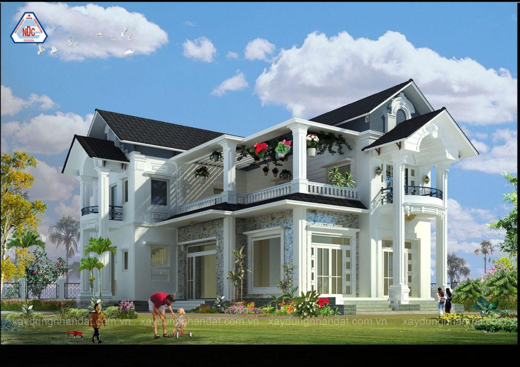 thiết kế kiến trúc bền vững, mẫu biệt thự mái thái đẹp