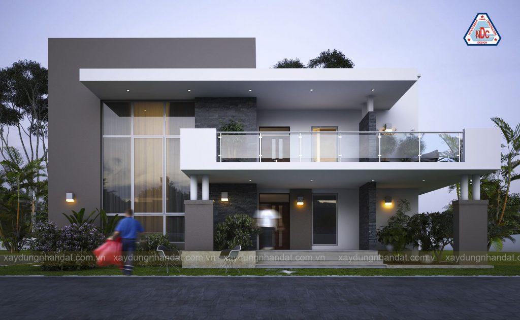 Tông màu trắng - xám luôn được ưu tiên lựa chọn trong các thiết kế biệt thự 2 tầng hiện đại .