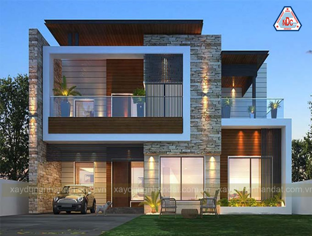 Mẫu biệt thự 2 tầng mái bằng gam màu nâu - gỗ sang trọng , hiện đại .