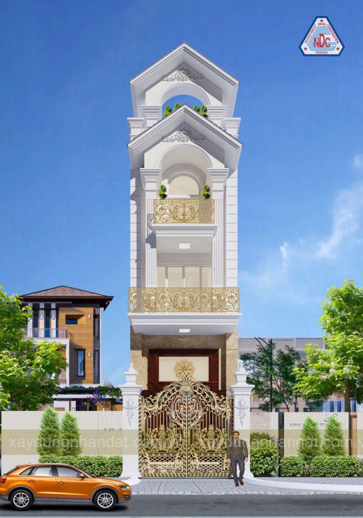 mẫu nhà phố tân cổ điển đẹp 3 tầng 4m