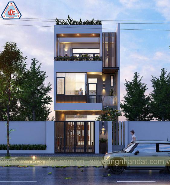 thiết kế mặt tiền nhà phố 3 tầng