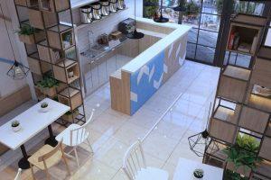 Thiết kế quán trà sữa mẫu số 3