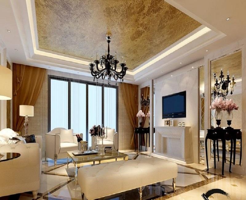 Mẫu thiết kế trần thạch cao phòng khách số 29