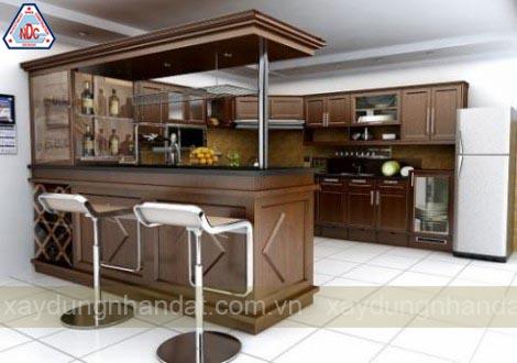 thiết kế phòng bếp gỗ