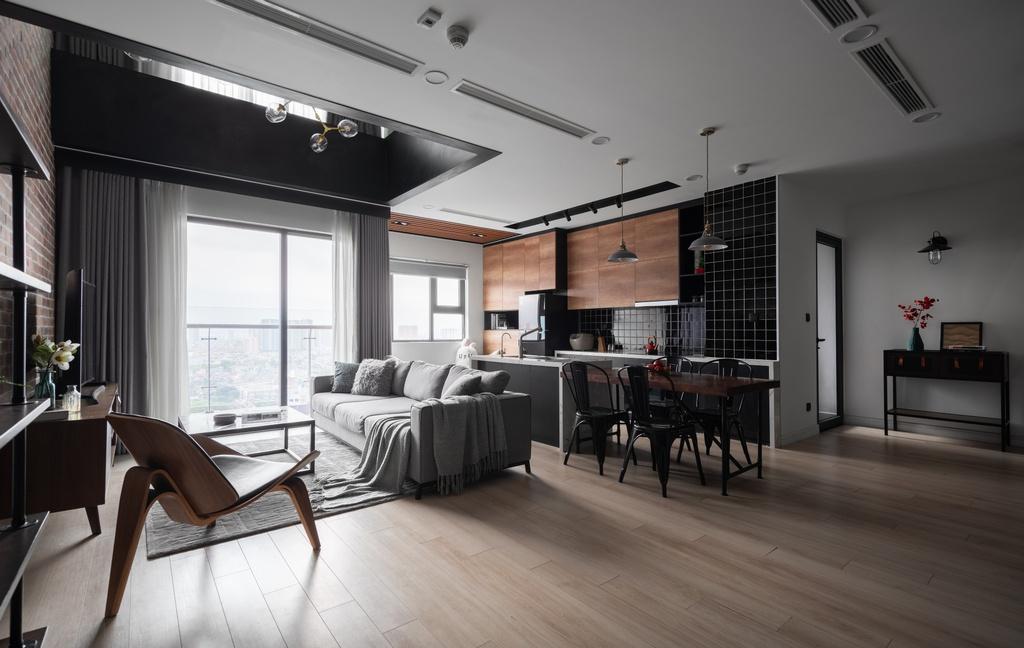 thiết kế phòng khách căn hộ sang trọng