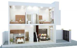 Mẫu thiết kế nhà 1 trệt 1 tầng 3 phòng ngủ đẹp