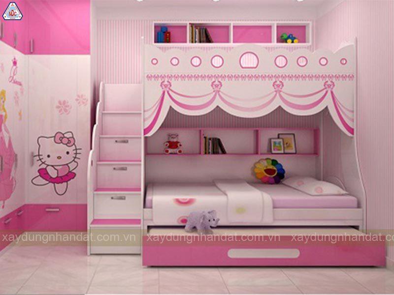 thiết ké giường tầng cho bé gái