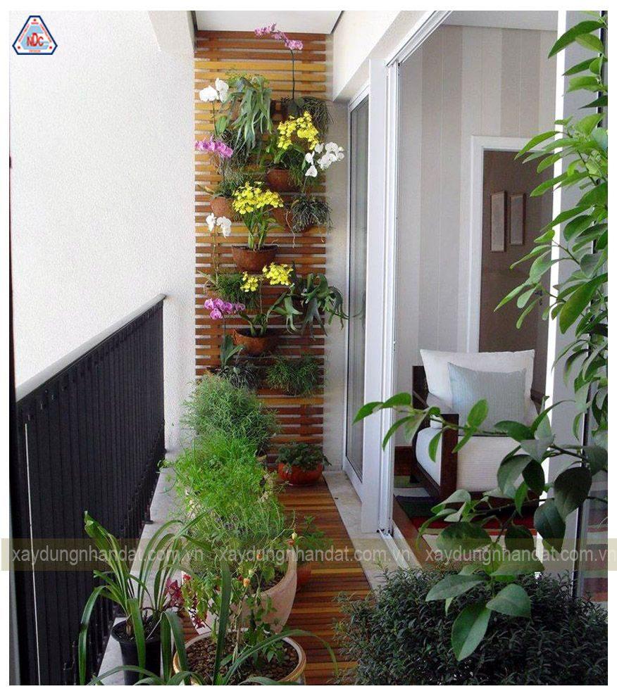 thiết kế vườn hoa nhỏ ở ban công