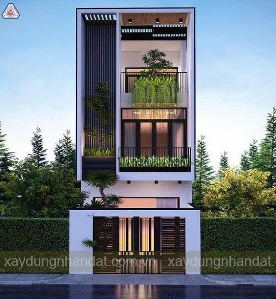 trồng cây xanh mặt tiền nhà phố